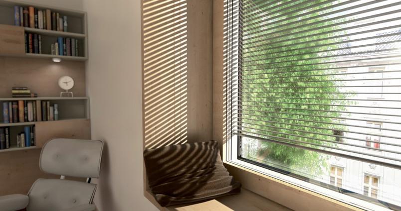 Fenêtre bois (bois / alu) à store intégré