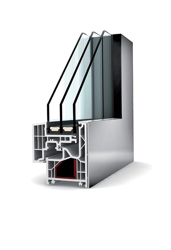 Porte-fenêtre alu triple vitrage à la française KF 220