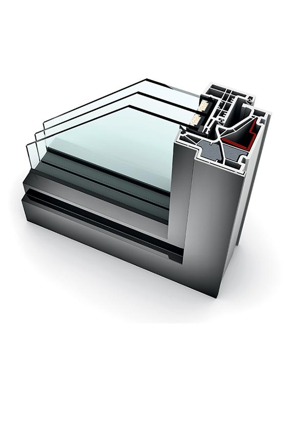 Porte-fenêtre alu triple vitrage à la française KF 500