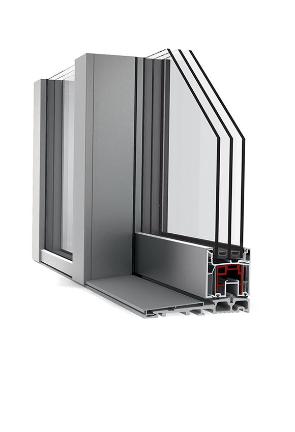 Porte-fenêtre alu triple vitrage à levage KS 430