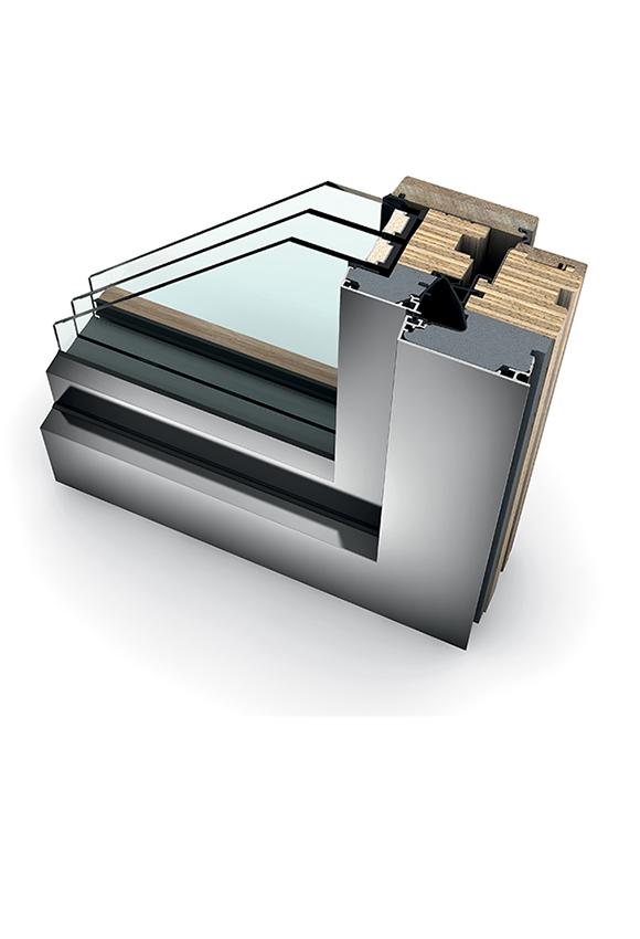 Porte-fenêtre bois triple vitrage à translation HF 410