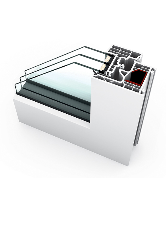 Porte-fenêtre PVC triple vitrage à la française KF 220