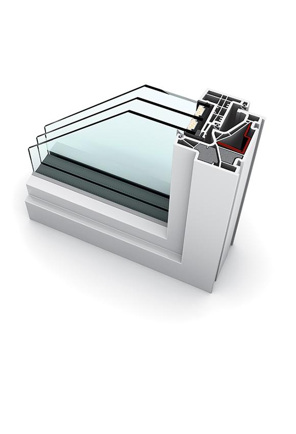 Porte-fenêtre PVC triple vitrage à la française KF 500