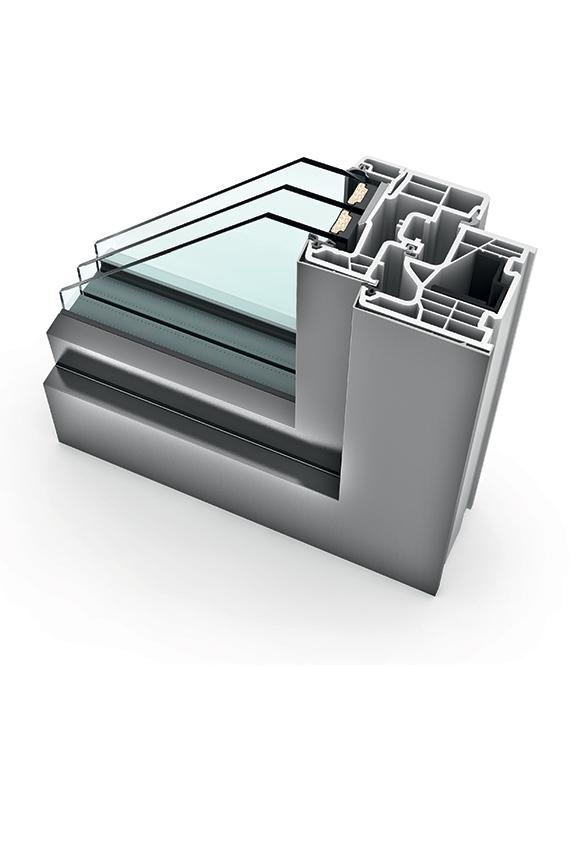 Porte-fenêtre alu triple vitrage à translation KF 310
