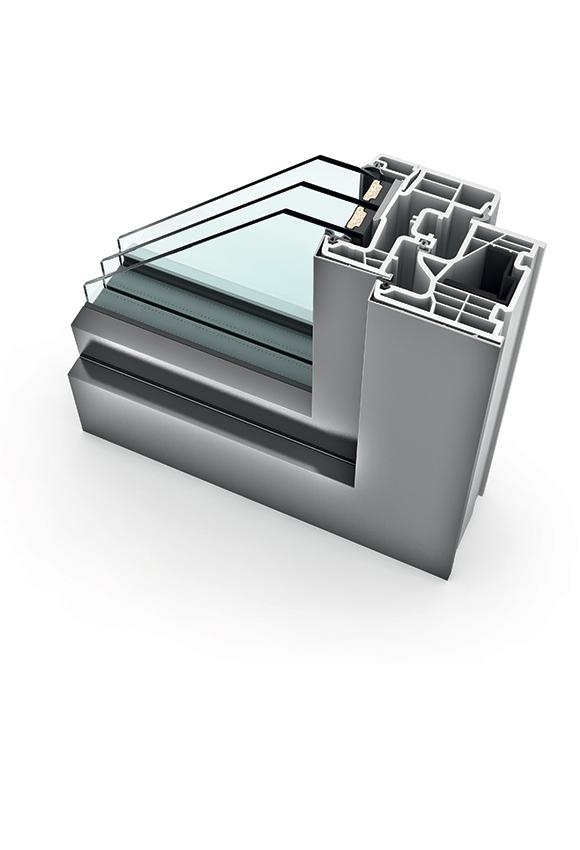 Porte-fenêtre PVC triple vitrage à la française KF 310