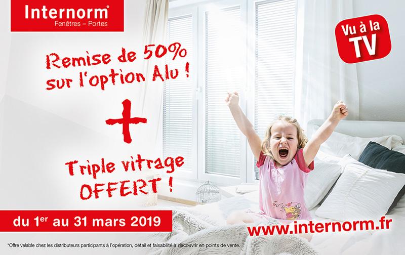 Promotion exceptionnelle chez Internorm au mois de mars 2019 sur le triple vitrage et les fenêtres alu !