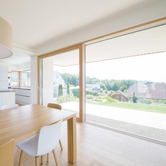 Porte-fenêtre coulissante bois à levage HS330
